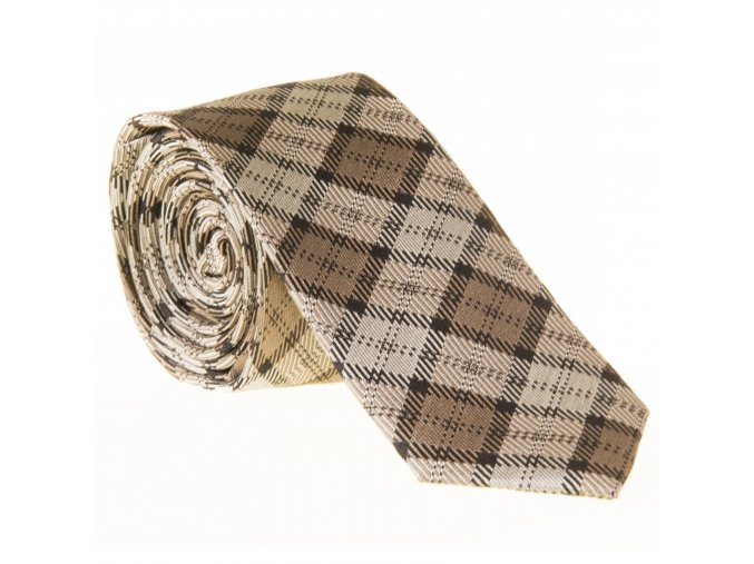Úzká vzorovaná kravata Le Dore - hnědá