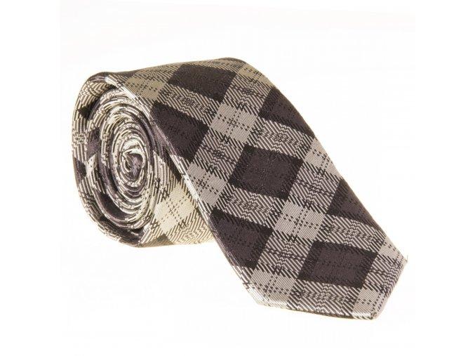 Úzká vzorovaná kravata Le Dore - šedá