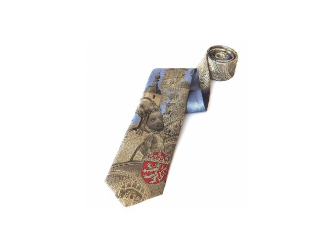 Kravata Karlštejn - zlatá / světle modrá