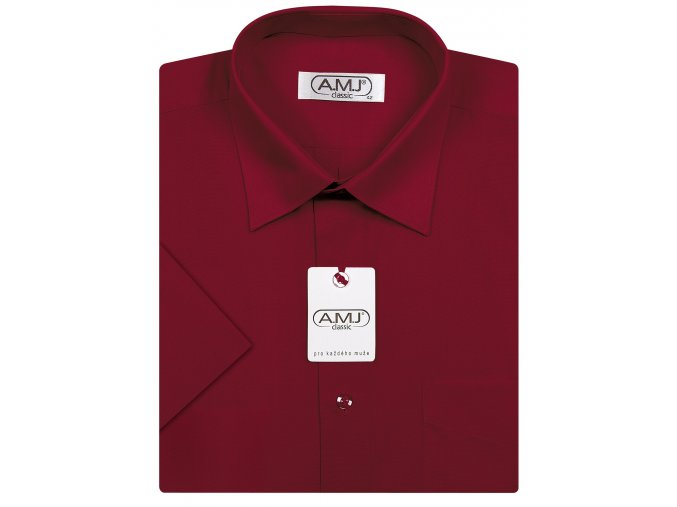 Pánská košile AMJ Comfort fit s krátkým rukávem - vínová