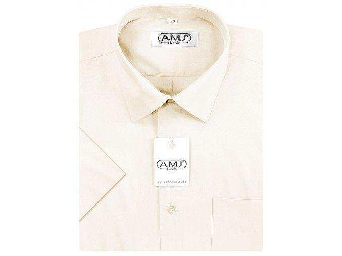 Pánská košile AMJ Comfort fit s krátkým rukávem - smetanová
