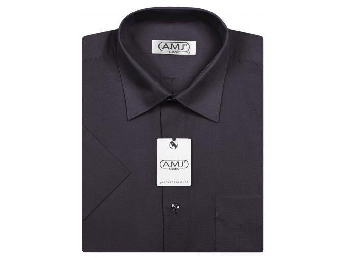 Pánská košile AMJ Comfort fit s krátkým rukávem - tmavě šedá