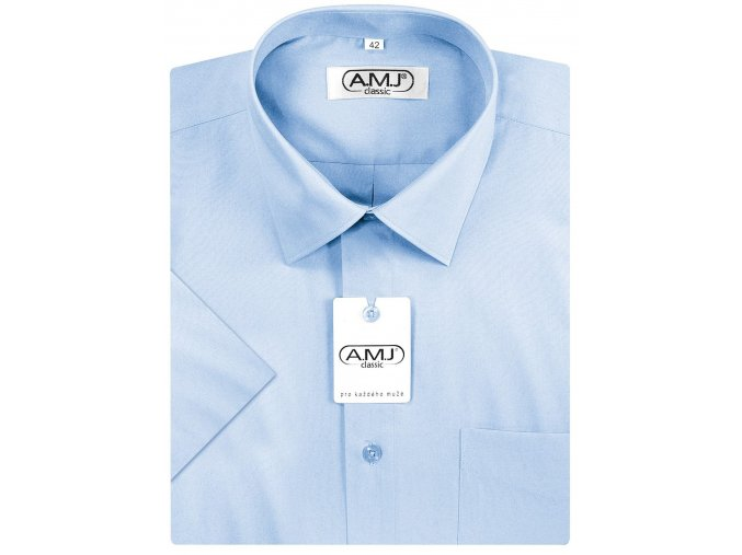 Pánská košile AMJ Comfort fit s krátkým rukávem - modrá/azurová