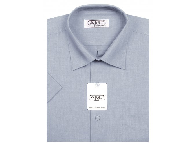 Pánská košile AMJ Comfort fit s krátkým rukávem - holubí šeď