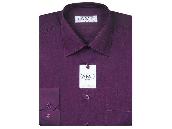 Pánská košile AMJ Comfort fit - tmavě fialová