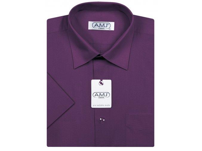 Pánská košile AMJ Comfort fit s krátkým rukávem - tmavě fialová