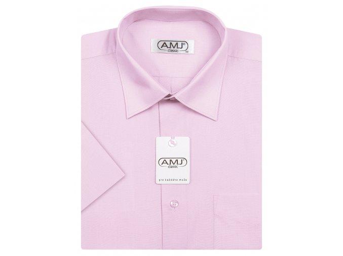Pánská košile AMJ Comfort fit s krátkým rukávem - světle fialová