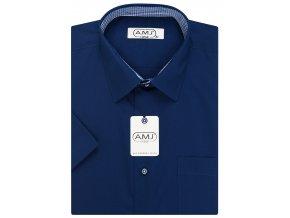 Pánská košile AMJ Classic s krátkým rukávem - tmavě modrá