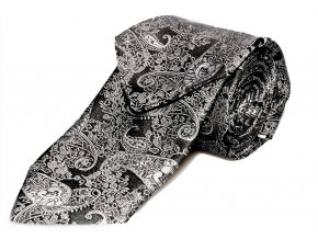 Kravata s kapesníčkem Brinkleys - černostříbrná