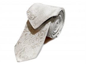 Úzká kravata s kapesníčkem Brinkleys - smetanová