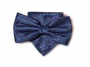 Dvojitý motýlek Brinkleys Classic s kapesníčkem - modrý