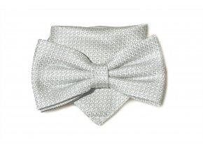 Dvojitý motýlek Brinkleys Classic s kapesníčkem - stříbrný
