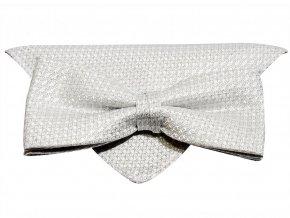 Dvojitý motýlek Brinkleys Modern s kapesníčkem - stříbrný