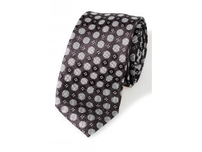 Úzká kravata Pure - černobílá