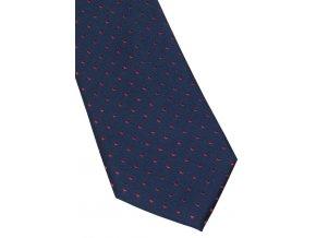 Hedvábná kravata Eterna - navy a červené tečky