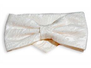 Dvojitý motýlek Brinkleys Classic s kapesníčkem - smetanový