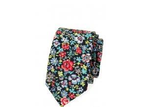 Úzká luxusní kravata Avantgard - modrá s květy