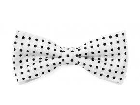 Dvojitý motýlek Avantgard - bílý s černým puntíkem