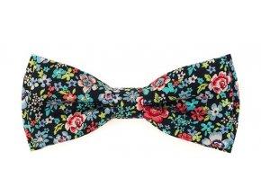 Dvojitý motýlek Avantgard bavlněný - modrý s květy