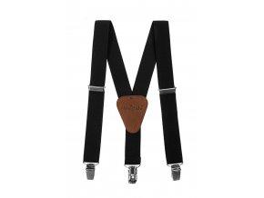 Clapecké šle Avantgard - černé, tmavě hnědá kůže 140 cm
