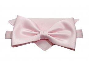Dvojitý motýlek Brinkleys Classic s kapesníčkem - růžový