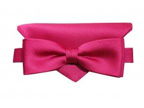 Dvojitý motýlek Brinkleys Modern s kapesníčkem - sytě růžový