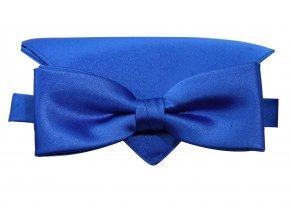 Dvojitý motýlek Brinkleys Modern s kapesníčkem - královská modrá