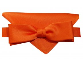 Dvojitý motýlek Brinkleys Slim s kapesníčkem - oranžový