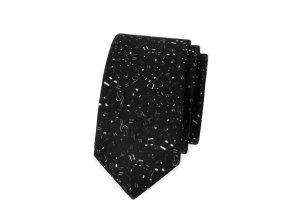 Úzká luxusní kravata Avantgard - černá / nota