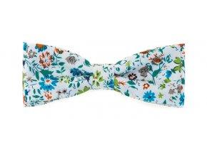 Dvojitý motýlek Avantgard Slim - bílý s květy