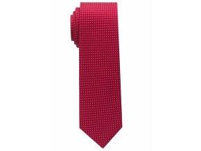 Úzká hedvábná kravata Eterna - červená s bílými tečkami