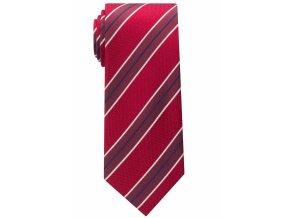 Vzorovaná hedvábná kravata Eterna - červená s pruhy