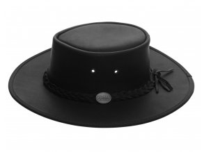 Pánský kožený klobouk Australák - černý