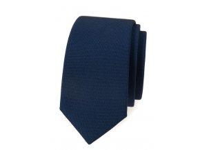 Úzká luxusní kravata Avantgard - navy modrá