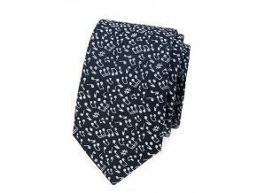 Úzká kravata Avantgard Lux - modrá / bílé noty