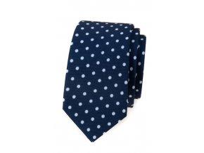 Úzká luxusní kravata Avantgard - modrá s bílými puntíky