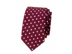 Úzká luxusní kravata Avantgard - bordó s bílými puntíky