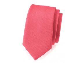 Úzká luxusní kravata Avantgard - korálová