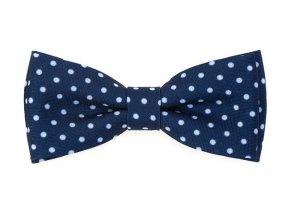 Dvojitý motýlek Avantgard s kapesníčkem - modrý s bílými puntíky