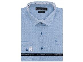 Luxusní bavlněná košile Lui Bentini Comfort fit - světle modrá