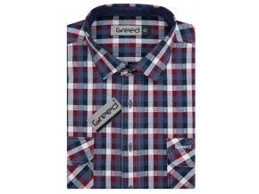 Bavlněná  košile AMJ Greed Comfort fit Modročervená