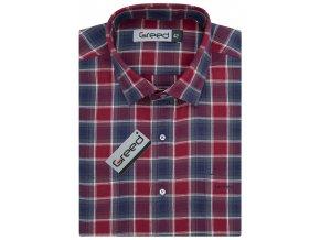 Flanelová košile AMJ Greed Comfort fit Modročervená