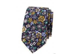 Úzká kravata Avantgard Lux - květy