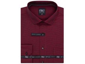 Pánská košile AMJ Comfort fit Vínová