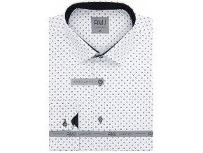 Pánská košile AMJ Comfort fit se vzorem - bílá /černá