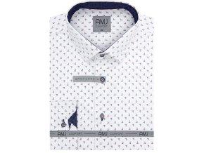 Pánská košile AMJ Comfort fit bílá s modrým a červeným vzorem