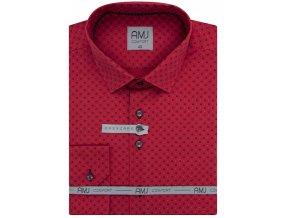 Pánská košile AMJ Comfort fit červená s tmavým vzorem
