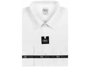 Pánská košile AMJ Slim fit s jemnou strukturou - bílá