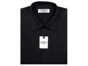 Pánská košile AMJ Comfort fit s krátkým rukávem - černá