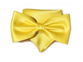 Dvojitý motýlek Brinkleys Classic s kapesníčkem - žlutý